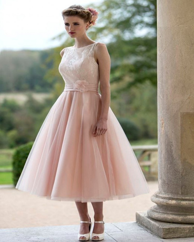 hot sale pink lace short mid calf wedding dresses 2017 short sleeve organza and tulle vestido de noive cheap custom made