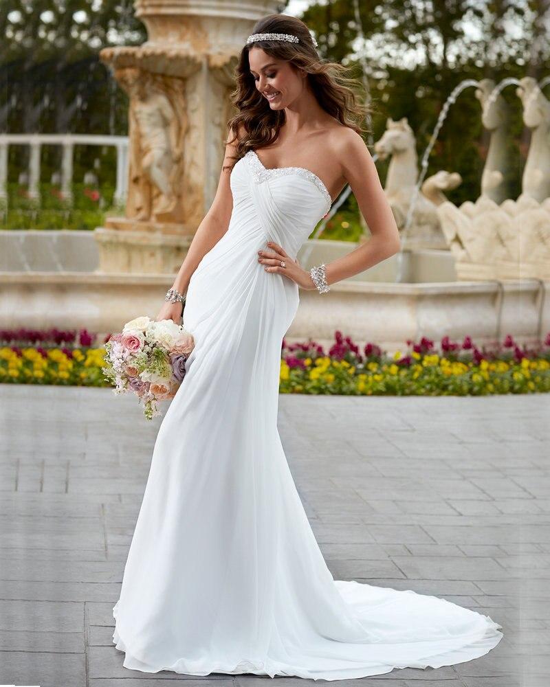 Simple White Dress Empire Chiffon Cheap Price Bohemian