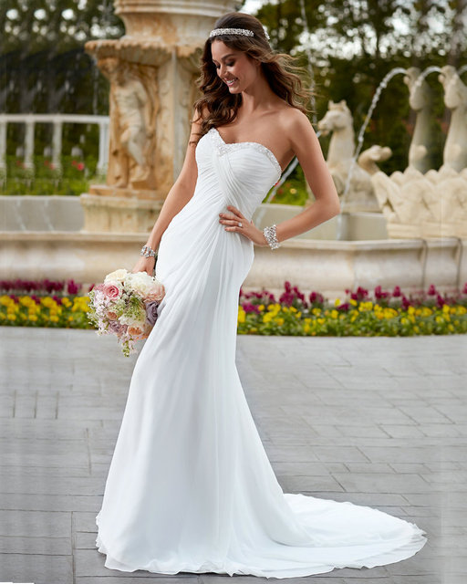 Simple White Dress Empire Chiffon Cheap Price Bohemian Wedding Gown Court  Train Custom Wedding Dresses Pregnant 38d231a2c8f4