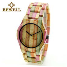 BEWELL 2017 Lightweight Bomboo Woman Quartz Wristwatch and Fashion Wood Watch for Womans Gift Relogio watch women 105DG