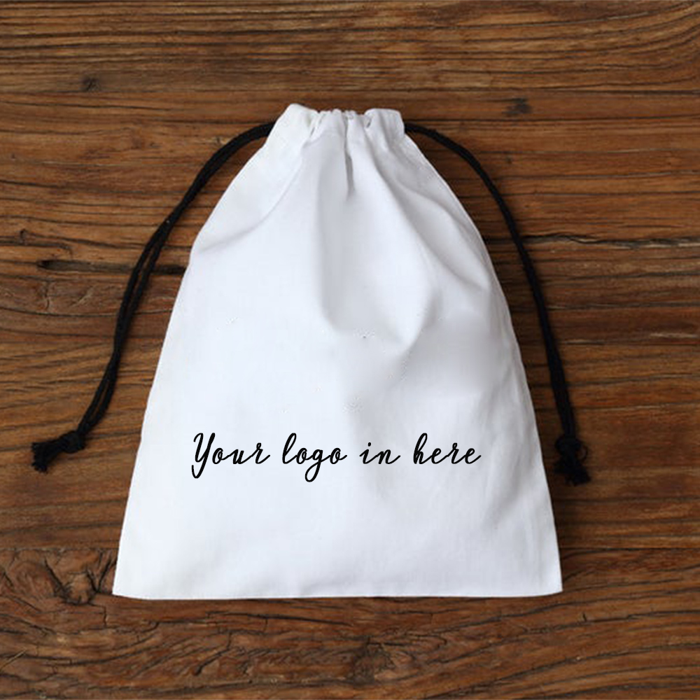 White Cotton Drawstring Bag With Black Rope For Jewelry Gift Packaging Pouches Chic Wedding Party Favor Bags Personalized Logo