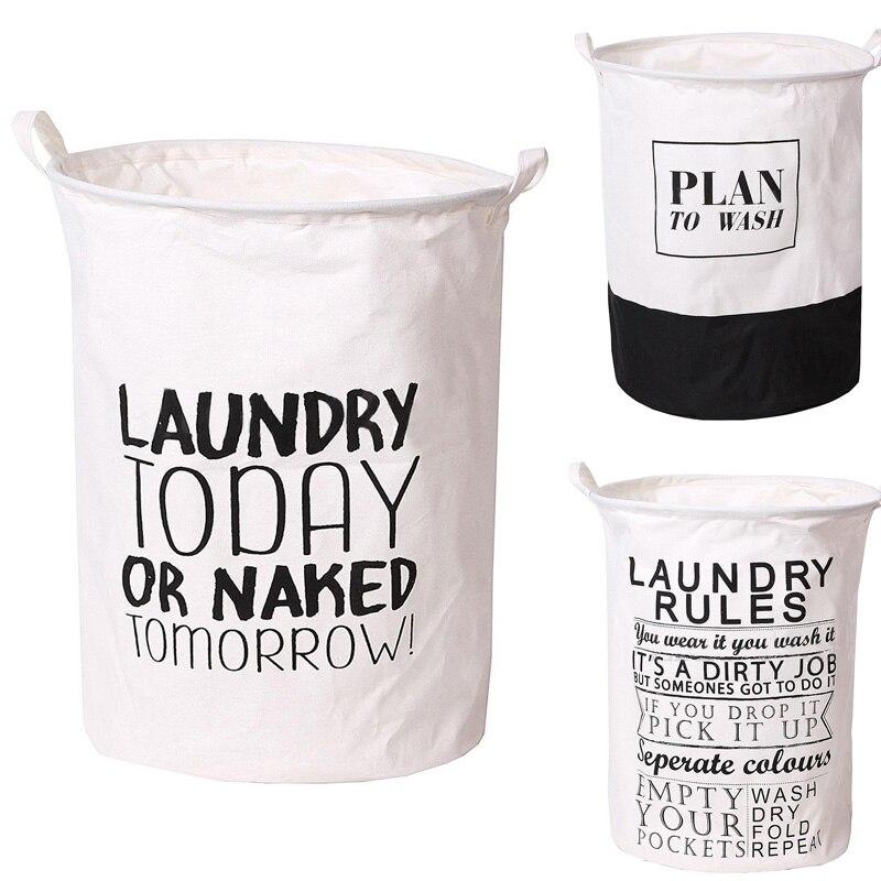 ④Gran lavandería bolsa algodón carta ropa Cestas de almacenamiento ...