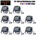 8 шт./лот 20x18 Вт RGBWA + UV 6в1 светодиодная настенная водонепроницаемая лампа с бесплатной доставкой и водонепроницаемой сценической мощностью о...