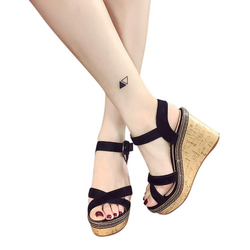 Platform Sandals Buckle High-Heeled-Shoes Fish-Mouth Women Fashion New Hot Slope