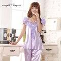 New elegante Adulto pijama colarinho Quadrado Floral Bonito de manga Curta pijama das Mulheres M-XL 4 cores opcional