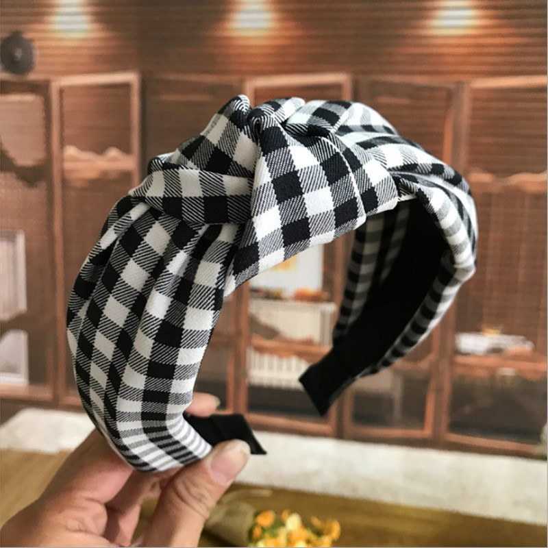Fashion hair accessories women's retro middle knotted hair band fabric sweet plaid wide-brimmed hairband headband   headwear   Girl