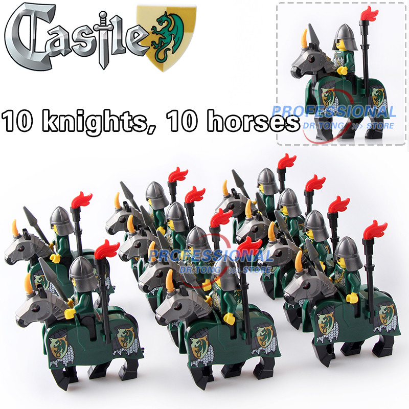 DR.TONG 20pcs/Lot Green War Horse Cattle King Kingdom Medieval Castle Knights with Weapons Heavy Armor Building Blocks Diy Toys