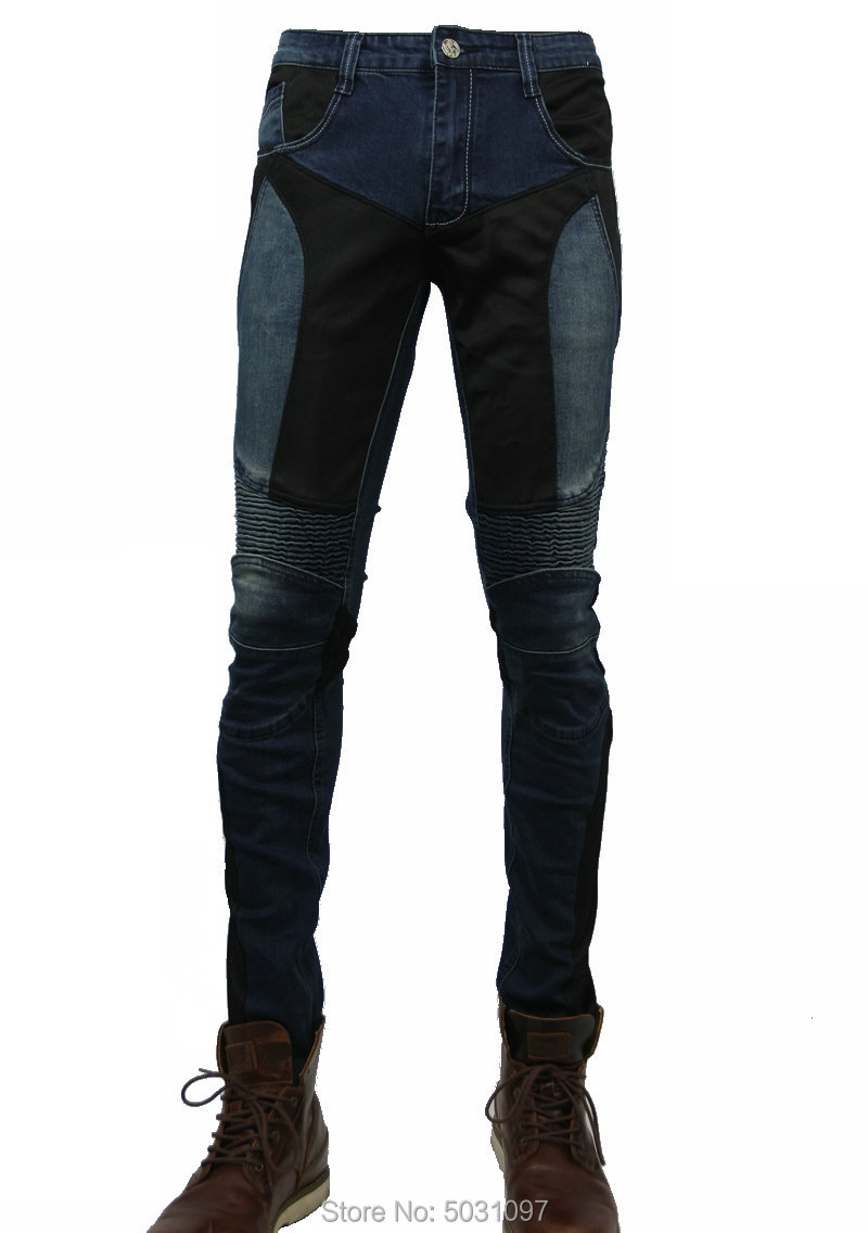 Loong Biker Summer Motorcycle Protective Jeans Breathable Mesh Riding Pants Knight Daily Cycling Sports Moto Trousers Slim Jeans