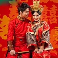 Asian Photo studio Wedding theme couple Costume bride groom Qing Dynasty wedding Robe dress Manchu Traditional lover Clothing
