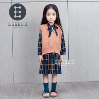 2017 Autumn Baby Girl Clothing Set Lovely Children S Clothing 2PCS Long Sleeve Dress Sweater Vest