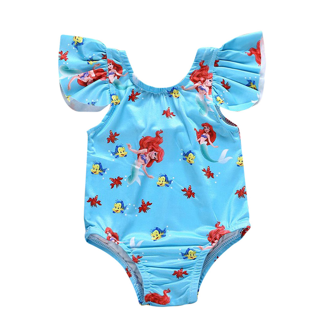 2018 Lovely Cartoon Toddler Kids Baby Girl Sleeveless Ruffle Summer Swimwear Bathing Bikini One Piece Bathsuit Swimsuit Clothes