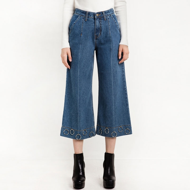 2018 Summer New Women Fashion Reverted Old Times with Metal Ring Wide-legged <font><b>Jeans</b></font> Women Fashion Sexy Cropped Trousers <font><b>Paige</b></font>
