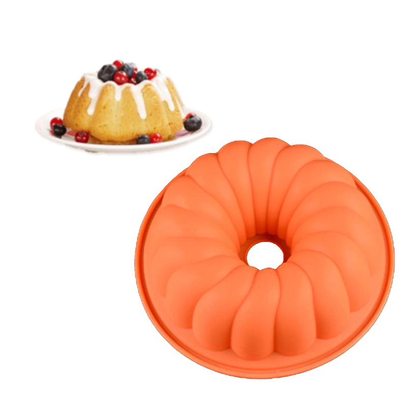Silicone Bakeware Spiral Round Hollow Pumpkin For Big Muffin Pan 3D Silicone Bread Dessert Cake Pan image