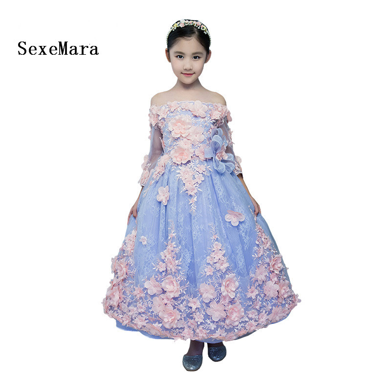 цены на Light blue Flower Girls Dresses Off Shoulder Zipper Lace Bow Flowers Ankle-length Ball Gowns Princess Communion Dress