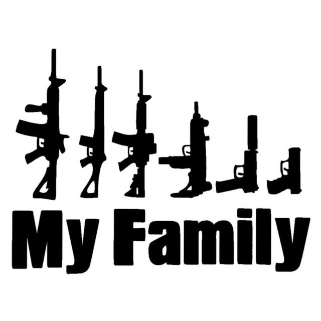 1pcs my family words cartoon gun car stickers funny window laptop vinyl car styling motorcycle