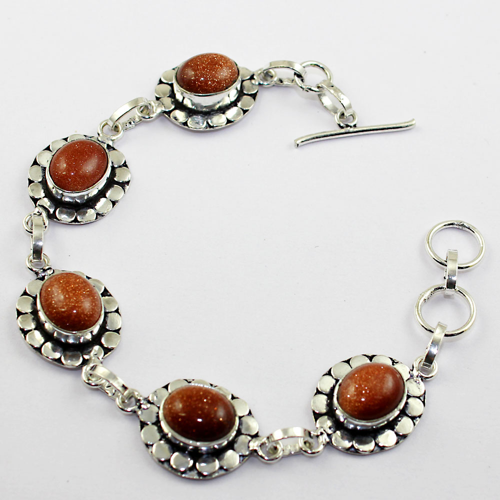 Sun Stone Bracelet Silver Overlay over Copper 19 2cm B1221 in Charm Bracelets from Jewelry Accessories