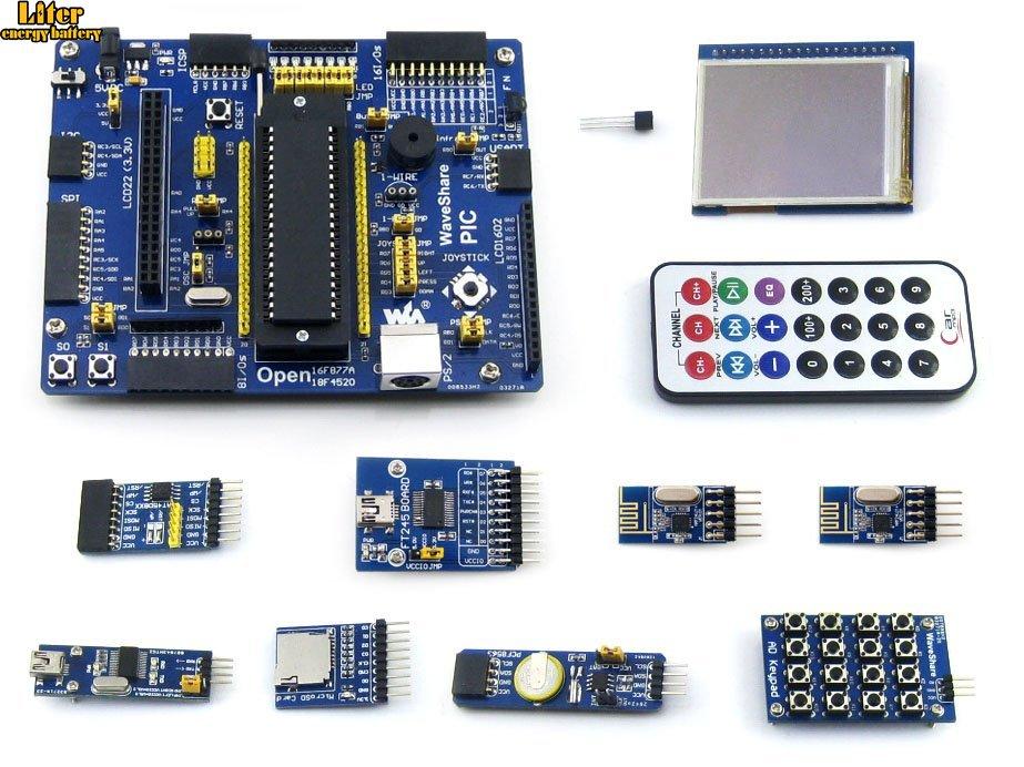 PIC Board PIC18F4520-I/P PIC18F4520 8-bit RISC PIC Development Board +11 Accessory Kits =Waveshare Open18F4520 Package APIC Board PIC18F4520-I/P PIC18F4520 8-bit RISC PIC Development Board +11 Accessory Kits =Waveshare Open18F4520 Package A