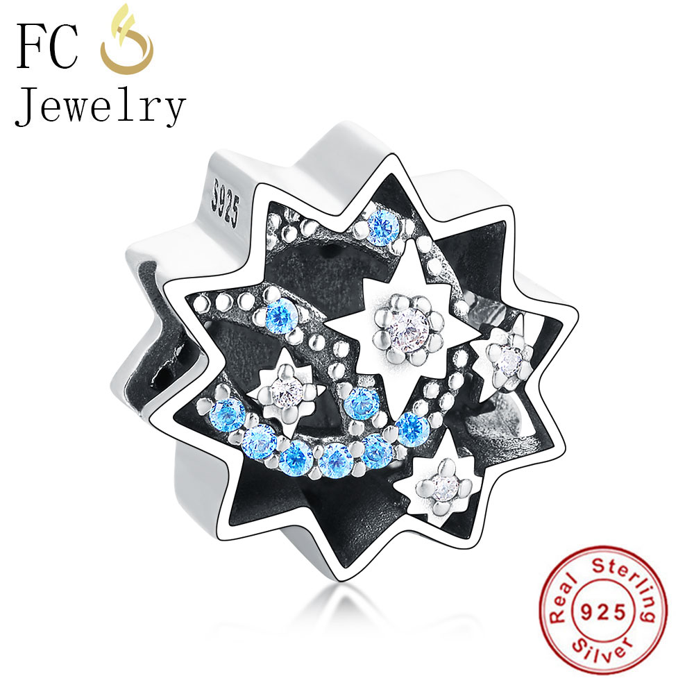 Beads Amiable Wholesale Price 925 Sterling Silver Star,blue/clear Cz Dream Bead Fit Original Pandora Bracelet Charm Making Jewelry For Kid/men