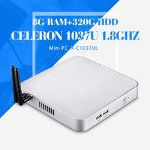 Мини настольных пк C1037U 8 г оперативной памяти 320 г HDD + wifi промышленных пк дешевые мини хозяева настольных пк Win 7 / 8 / 8.1 / Linux / XP