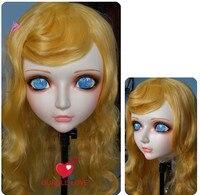 (DM003) Kadın Tatlı Kız Reçine Yarım Baş Kigurumi BJD Maske Cosplay Japon Anime Rol Lolita Gerçekçi Gerçek Maske Crossdress Doll