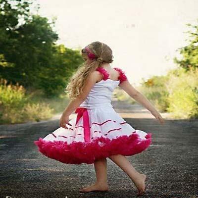 Wholesale children skirt white with hot pink ribbon petticoat skirt girls pleated skirt