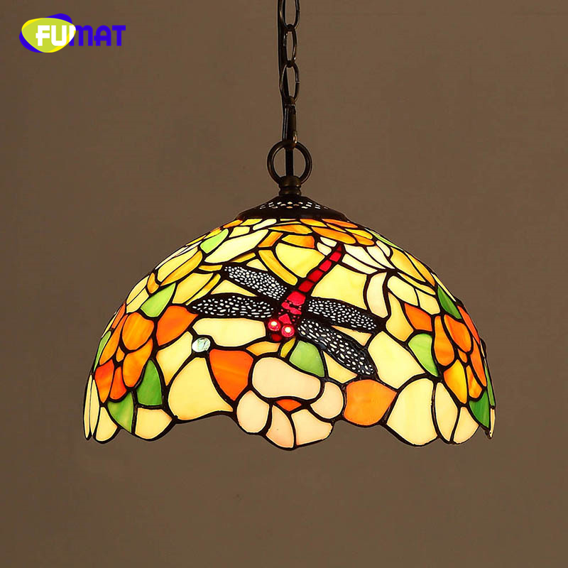 FUMAT Glass Dragonfly Shade Lamp Creative Stained Glass Pendant Lamp For Dining Room Living Room LED Glass Art Pendant Lamps купить