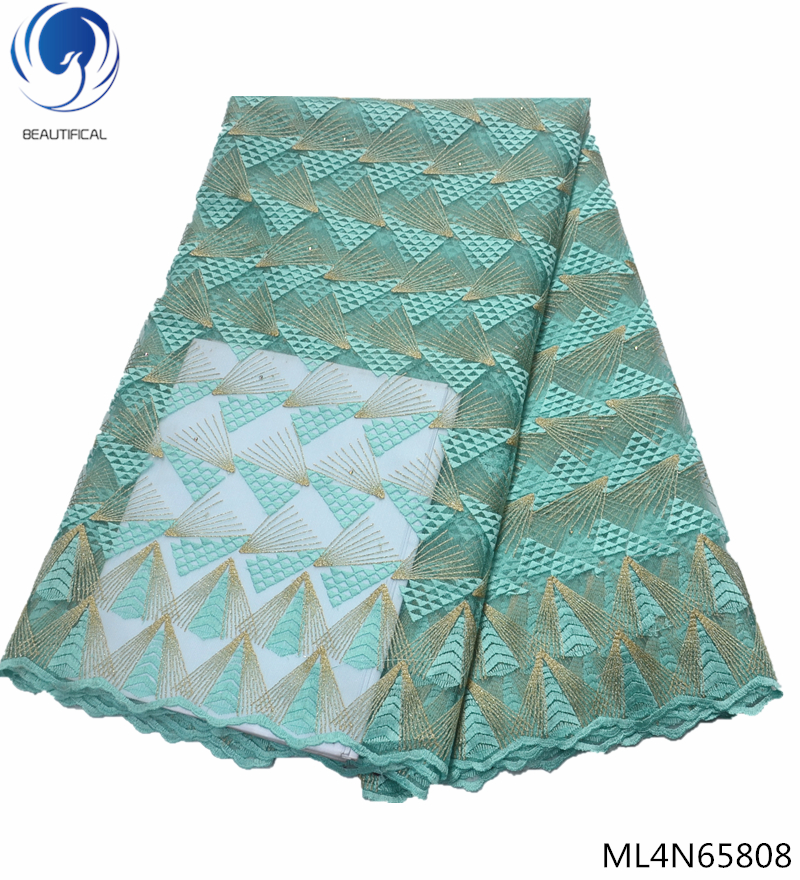 BEAUTIFICAL 2019 african fabric lace tulle lace fabric rhinestone french lace fabric high quality 5yards ML4N658 in Lace from Home Garden