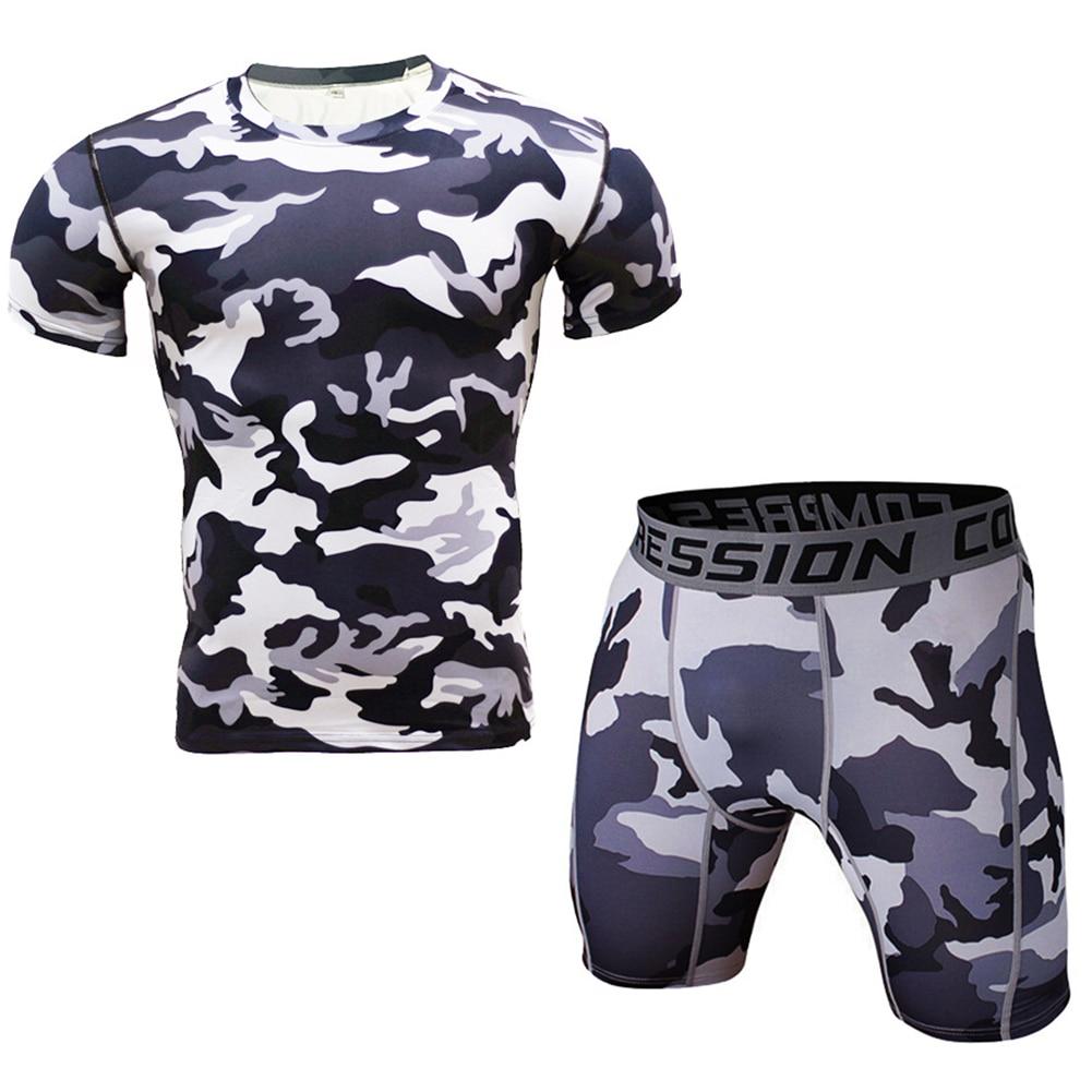 Mens Camouflage Sets Sportwear Shortswear Pants + T Shirt 2PCS Tracksuit Elastic Waist Plus Size Shorts 3 Style Summer