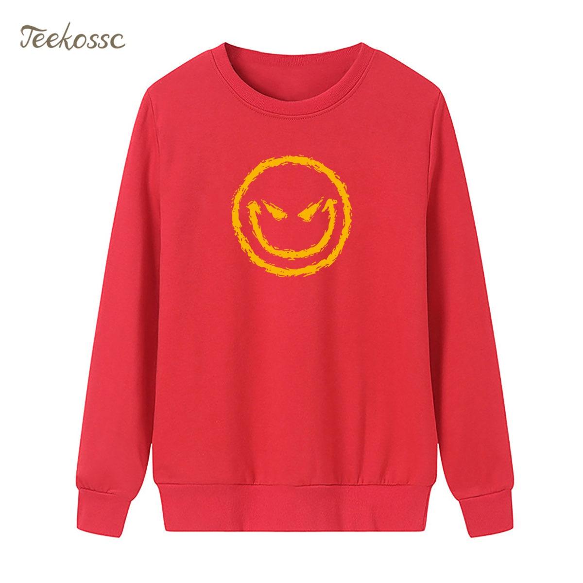 Little Devil Smile Sweatshirt Black Print Hoodie 2018 New Brand Winter Autumn Women Lasdies Pullover Loose Fleece Streetwear XXL