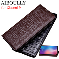 AIBOULLY For Xiaomi Mi 9 Case Soft Silicone Back Flip Genuine Leather Cover For Xiaomi Mi 9SE Case Hard Fundas Phone Bag Capas