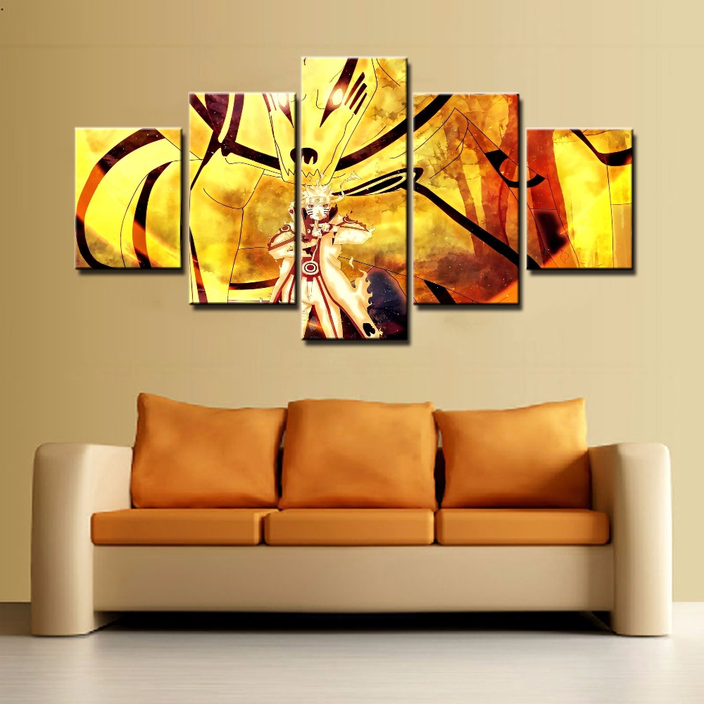 5 Panel Cartoon Naruto Bijuu Kyuubi Kurama Painting Canvas Wall Art ...