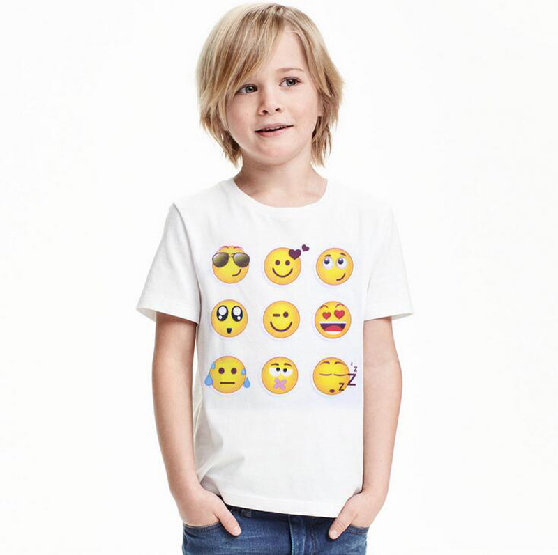 New Kids Emoji Emotions Cosplay T-shirts Smiley Face Emotions Boys Summer Costumes T-shirts Tees