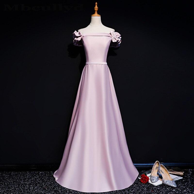 Mbcully bretelles rose Satin robes De bal 2019 nouveau dos nu formel longue Robe robes De soirée pour les femmes grande taille Robe De soirée