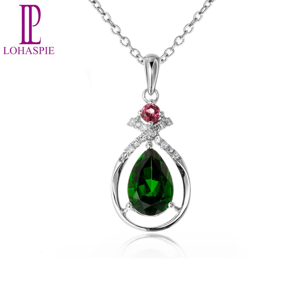 LP Gemstone Jewelry 18K White Gold Natural 1.53ct Chrome Diopside Pendant Necklace Gift Box