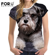 FORUDESIGNS Wholesale 3D Schnauzer Women T Shirt Tees Woman Tops O Neck Elastic Ladies Basic Girl Female Dogs T-shirt 2017