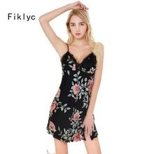 Fiklyc brand sleeveless sexy women s flower print summer nightdress mini length satin lace backless spaghetti