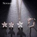 NEWBARK Bonito Flor Conjuntos de Jóias de Moda Rose Banhado A Ouro Conjunto Dainty 5 pcs Presente Para As Mulheres CZ Diamante Com Alta Qualidade Bisuteria