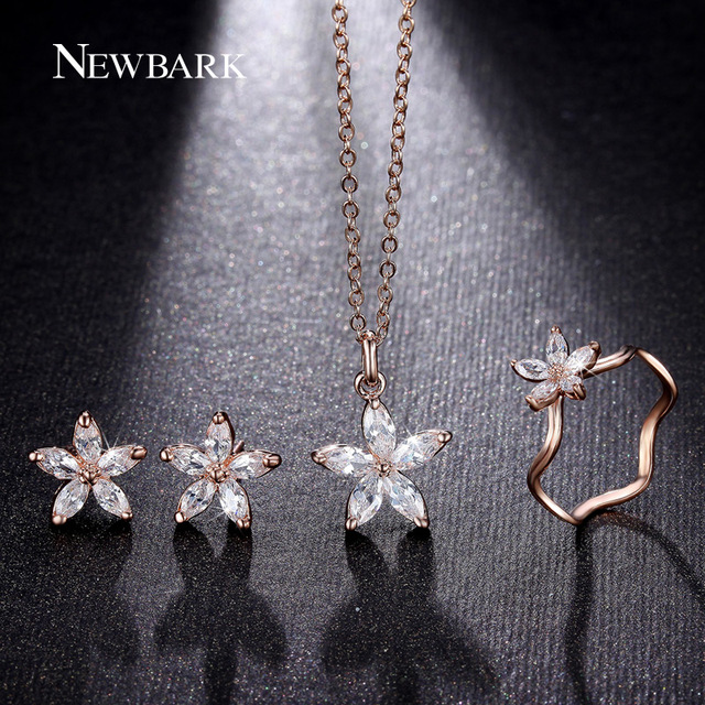 NEWBARK Cute Flower Jewelry Sets Fashion Rose Gold Plated Set Dainty 5pcs CZ Diamond With High Quality Gift For Women Bisuteria
