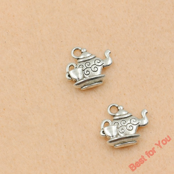 Antique Silver Tone Wine Teapot Charms Pendants Fashion Jewelry DIY Jewelry Making Handmade 14x15mm