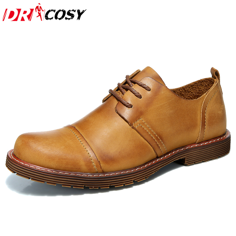 ФОТО New Fashion Business Men Shoes Man Top Quality Genuine Leather Casual Shoes Men Oxfords Lace-Up Outdoor Work Shoes Sapatos