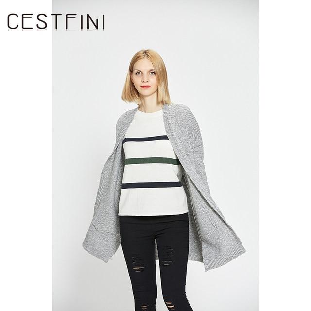 Tienda Online CESTFINI Gris Caqui Cardigan Suéter de Las Mujeres ...