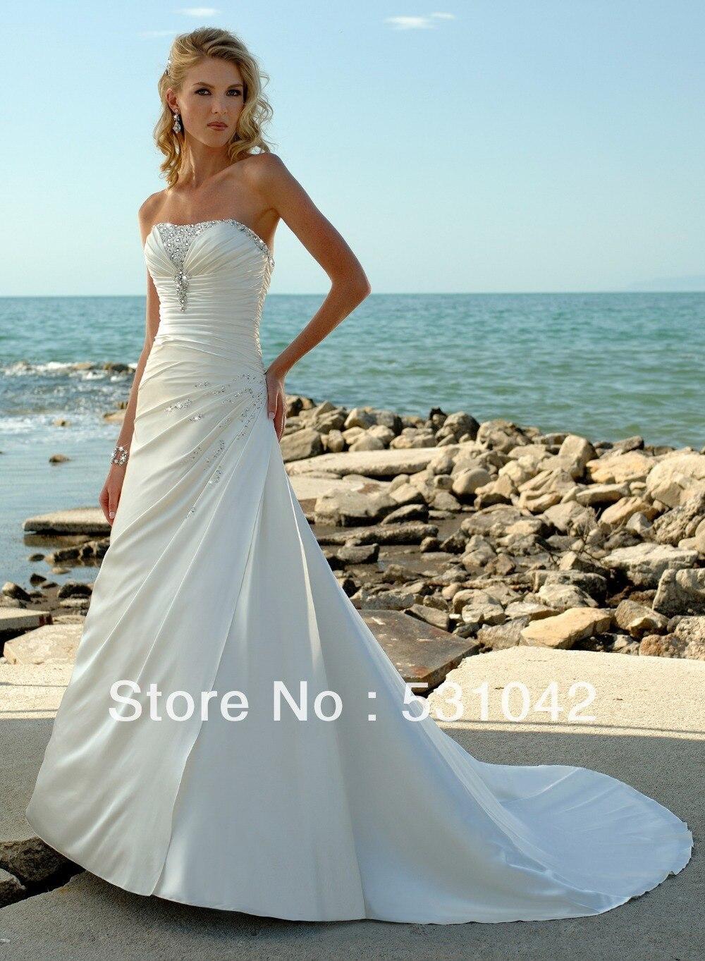 2015New Custom Make White Ivory Champagne Strapless Wedding Dress ...