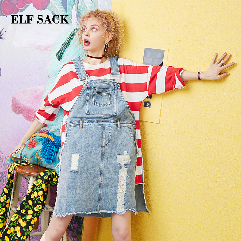 ELF SACK 2019 Summer Dress Preppy Style Knee Length Women O Neck Cotton Dress Striped Patchwork