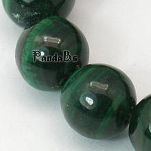 Природный камень малахит бусы пряди, круглый, зеленый, 9 мм, отверстие: 1 мм