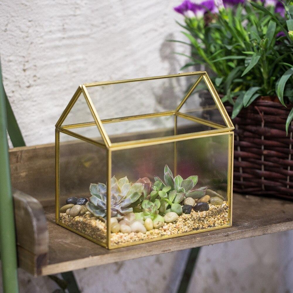 Copper House Shape Moss Plants Glass Box Flower Pot Wardian Case Victorian Vintage Planter Green Succulents Geometric Terrarium