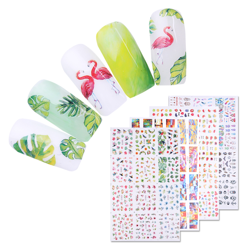 1 Sheet Rose Flower Water Decals Watermelon Leaf Colorful Nail Art Transfer Sticker Nail Art Decoration