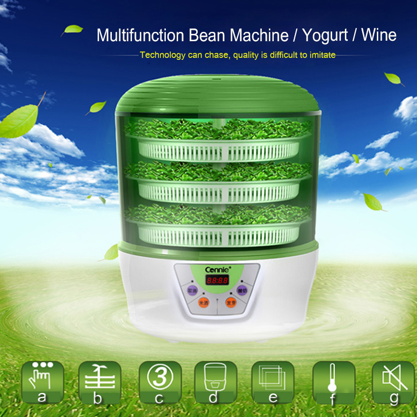 1PC Bean sprouts machine automatic intelligent household fabaceous large capacity Multifunction Bean Machine/Yogurt/Wine bear three layers of bean sprouts machine intelligent bean sprout tooth machine dyj b03t1