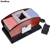 Deluxe 2 Deck Wood CARD SHUFFLER Double Use Perfect For Shuffling One Or Two Deck Of Card Automatic Machine Poker Card Shuffler