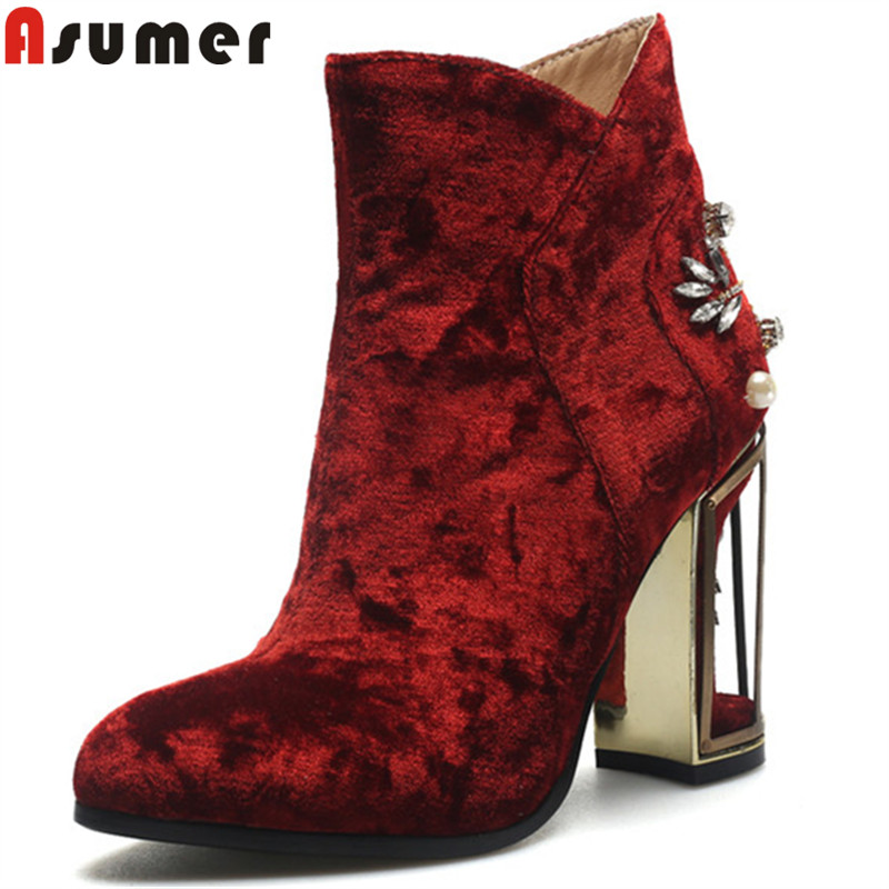 ASUMER big size 33-43 fashion autumn shoes woman round toe zip flock ladies boots elegant prom high heels ankle boots women memunia ankle boots for women high heels shoes woman pointed toe fashion boots female party flock solid big size 34 43