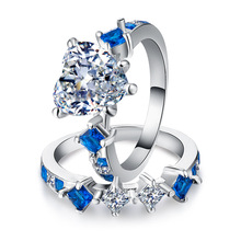 Huitan 2PC Couple Bridal Ring Set With Halo Heart Shaped Clear Stone Prong Setting Two Color Available Romantic Gift For Girl